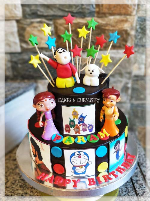 Multiple Favorite Cartoon Theme Cake